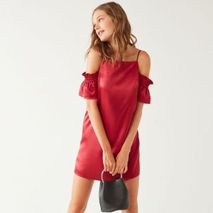 Urban Outfitters Cold Shoulder Satin Dress